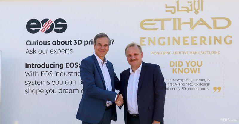 EOS ed Etihad Airways Engineering insieme per espandere le capacità della stampa 3D industriale