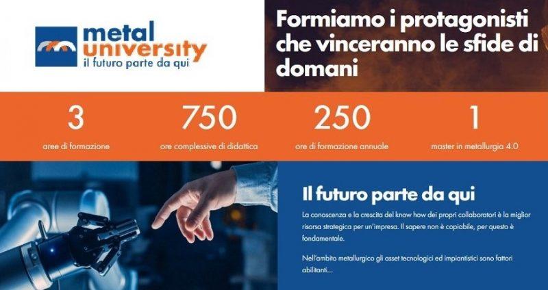 Nasce Metal University, scuola di alta formazione dei comparti siderurgico, metallurgico e metalmeccanico